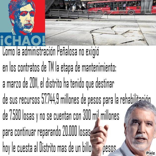 Por corrupción de Peñalosa, reparar las losas de TM corre por parte d todos los Bogotanos @josemap1 @laplumaqueataca