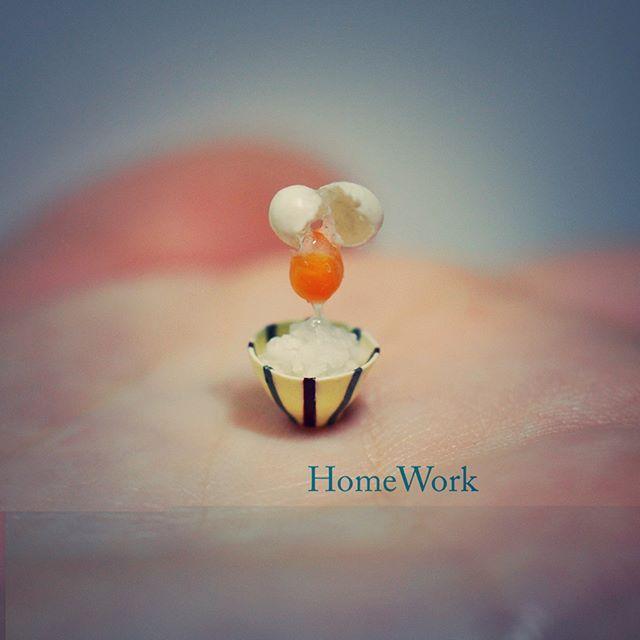 #homework #miniature #art #rice #bowl #ricebowl #interior #TKG #egg #食品サンプル #ミニチュア #ごはん #お米 #茶碗 #卵 #たまご #卵かけごはん #朝食 #朝ごはん #食器 #インテリア #雑貨 #handmade #手のひらの上の世界