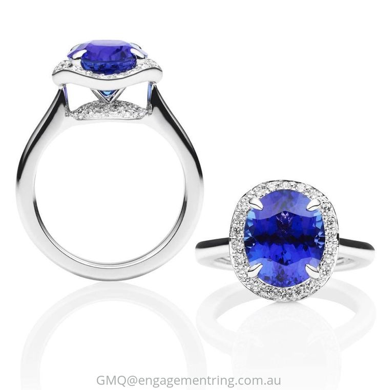 "Another shade of Tanzanite and a different take on the diamond ""halo"" idea by adding a ""ballerina"" wave effect to it."