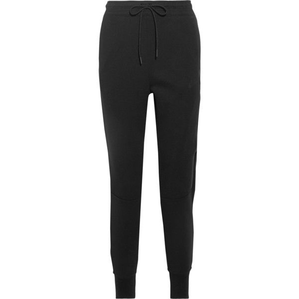 Nike Tech Fleece cotton-blend track pants (1,620 MXN) ❤ liked on Polyvore featuring activewear, activewear pants, black, track pants, nike activewear pants, nike, nike sportswear and nike activewear