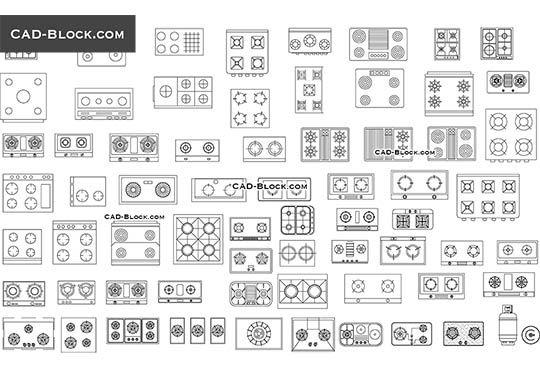 Cooktops - free AutoCAD Blocks