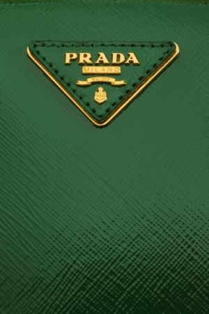 Prada Saffiano Green Vernice Frame Pyramid Top Handle Bag (detail ...