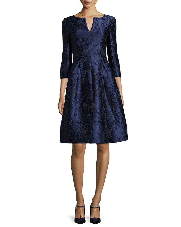 Oscar de la Renta 3/4-Sleeve Floral-Embroidered Dress, Marine Blue