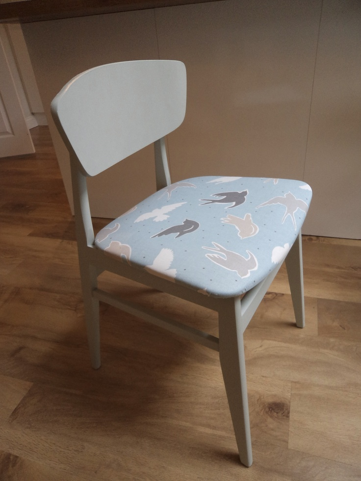 Funky vintage dining chair covered in clarke clarke for Funky fabric dining chairs