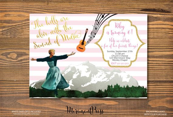 Sound of Music Invitation The Hills are Alive Favorite Things Pink Stripes Faux Gold Glitter calligraphy - Maria Collection