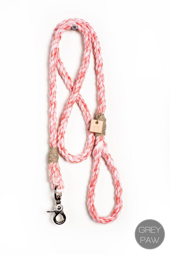 Dyed Rope dog leash pet supplies dog collar dog lead: Medium marbled fire red cotton blend rope leash via Etsy