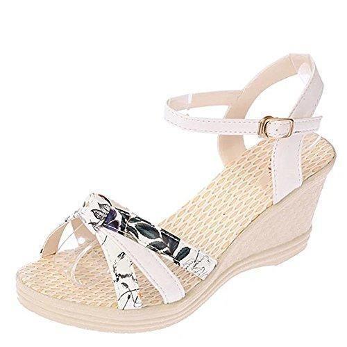 Oferta: 6.98€. Comprar Ofertas de Minetom Mujer Verano Dulce Floral Cerrojo Sandalias Con Cuña Peep Toe Cabeza Pescado Zapatos De Tacón Alto Chancletas Zapatil barato. ¡Mira las ofertas!