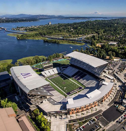 University of Washington's Husky Stadium ... such a little pin for such a grand stadium! photo from The Seattle Times
