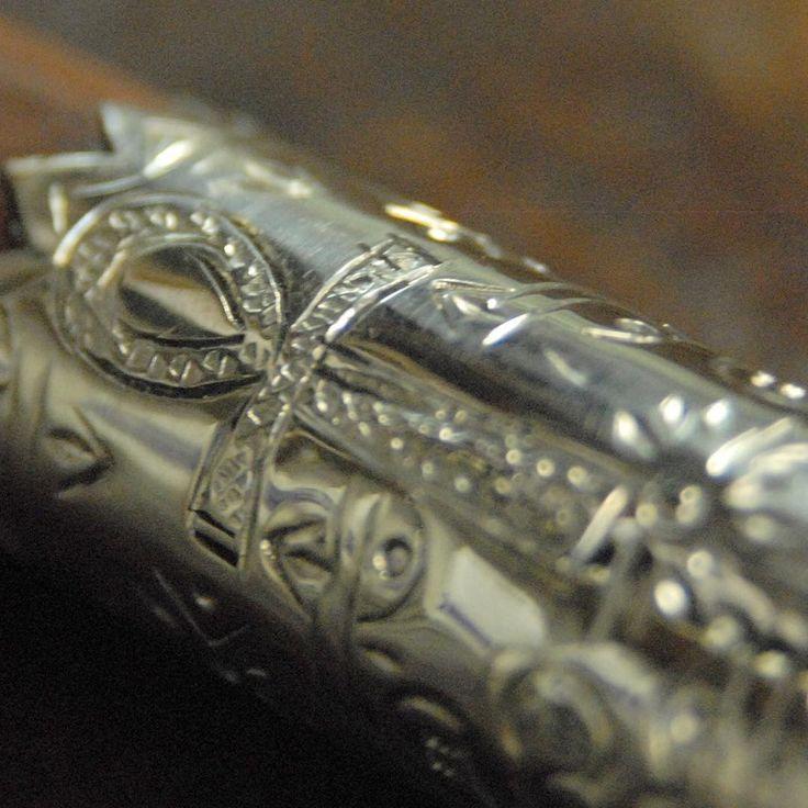 #Croix d'#Égypte ciselée sur une virole de makhila  #décoration #silver #craft #handmade #madeinfrance #inspiration