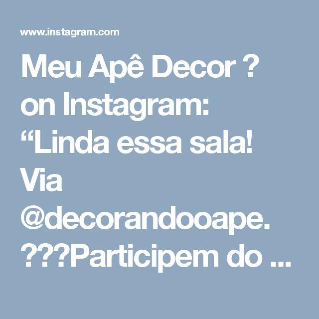 """Meu Apê Decor 🌸 on Instagram: """"Linda essa sala! Via @decorandooape. ⚠️🍀Participem do sorteio🍀⚠️ #meuapedecor #inspiração #decoração #inspiration #decoration #apartamento…"""" • Instagram"""