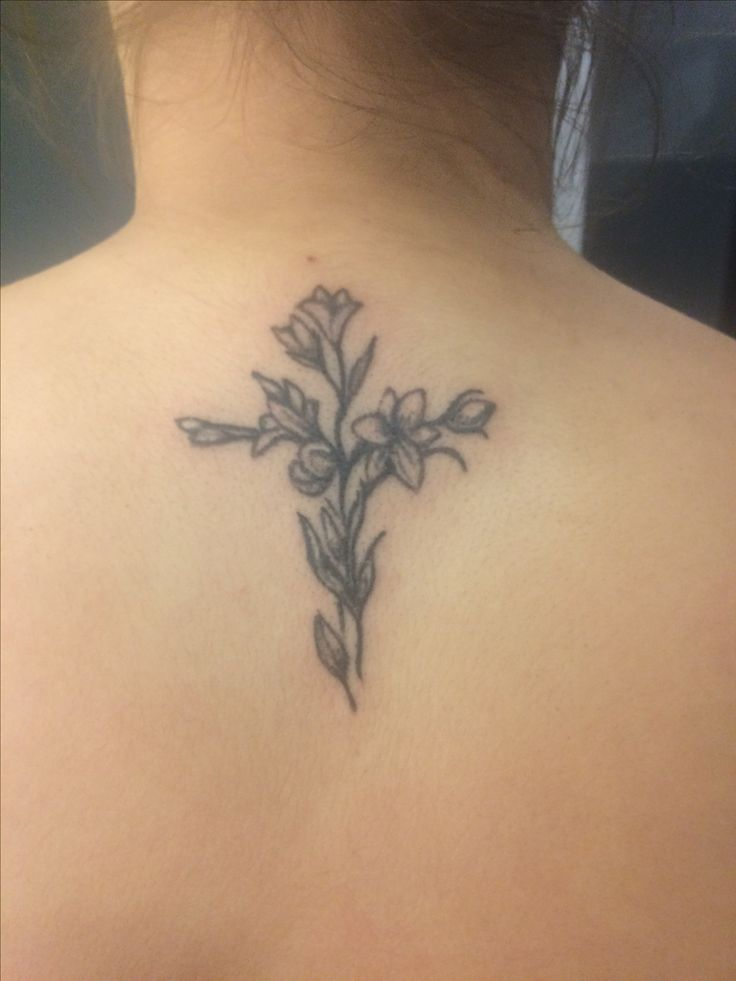 Lily cross tattoo back pretty black and white