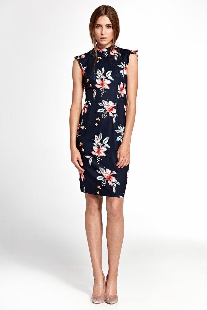 Elegancka Granatowa Sukienka W Delikatne Kwiaty Dresses Fashion Clothes For Women