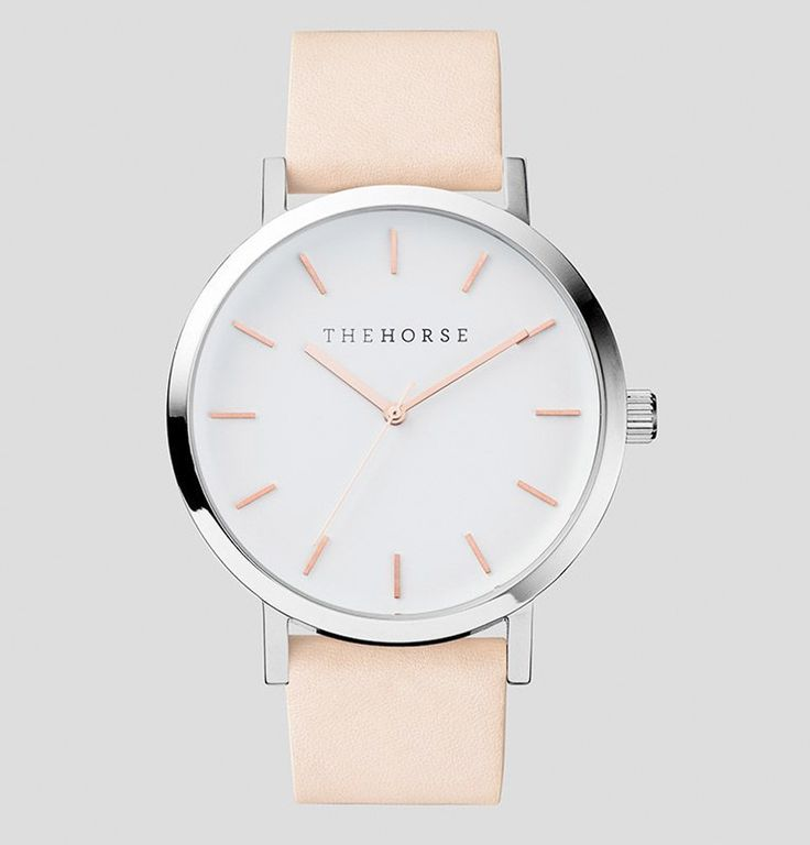 The Horse | Standard Watch | Polished Steel / White Face with Rose Gold Indexing and Vegetable Tanned Leather Band