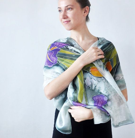 Hand Painted Silk Scarf with irises.Handmade by KatarzynaKaMaART