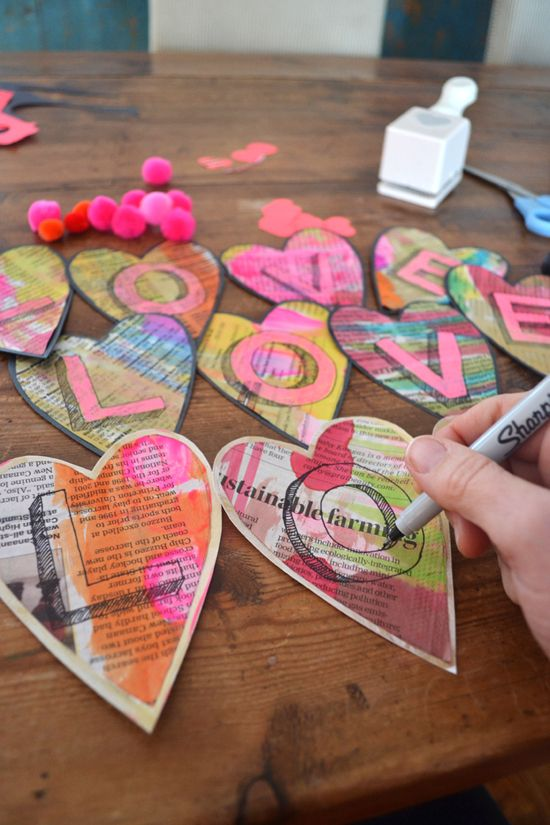 DIY Love Garland – Valentine's Craft – Watercolored Hearts & Pom-poms | small for big