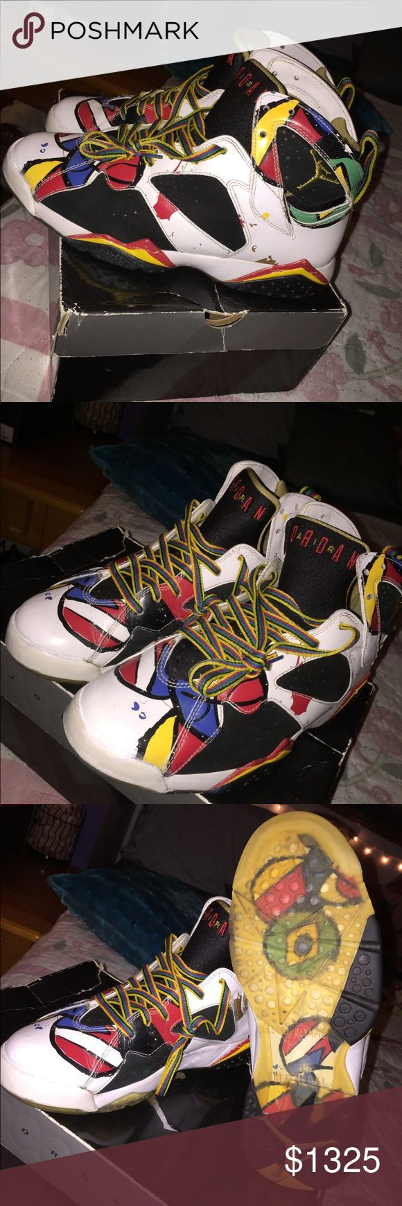 Jordan 7 Miro Olympics Highly Collectible . No og box or laces . Authentic. Air Jordan Shoes Sneakers