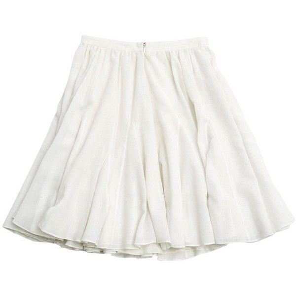 Mid-length skirt CÉLINE ($215) ❤ liked on Polyvore featuring skirts, white skirt, white cotton skirt, cotton skirts, mid length skirts and cotton knee length skirt
