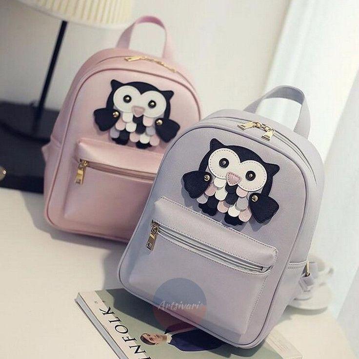 Stylish 2pc Owl Design Bag Leather Rucksack Travel School Casual Women Backpack | eBay