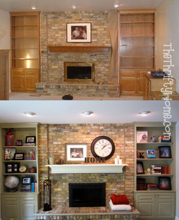 Inexpensive makeover: Painting fireplace, mantel, and built-in bookcases.