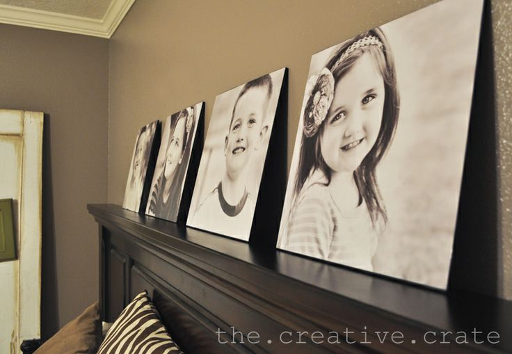 "Simple picture boards: 12 x 12"" piece of MDF, black paint, Mod Podge and your picture. Voila!"