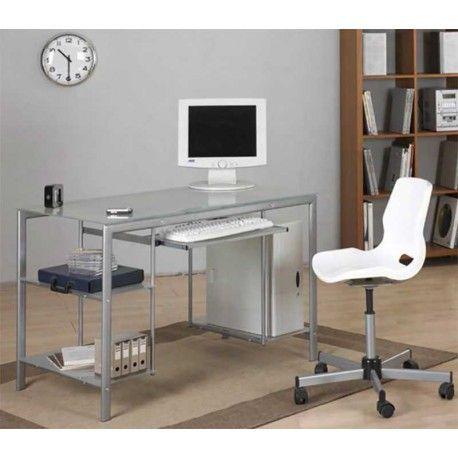 Mesa de Ordenador realizada en estructura de acero y con cristal templado y traslúcido. Esta mesa es ligera y muy práctica que se adapta perfectamente a cualquier habitación o rincón de tu casa. Puedes ponerla tanto en un dormitorio juvenil, en el salón para hacer un rincón de trabajo o en tu oficina.