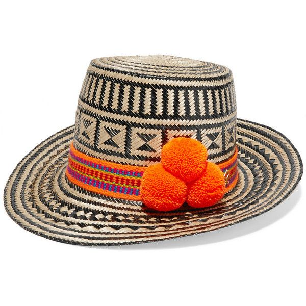 Yosuzi Pompom-embellished woven straw sunhat (23.930 RUB) ❤ liked on Polyvore featuring accessories, hats, orange, beige, palm hat, beige hat, straw beach hat, pom pom hat and sun hat