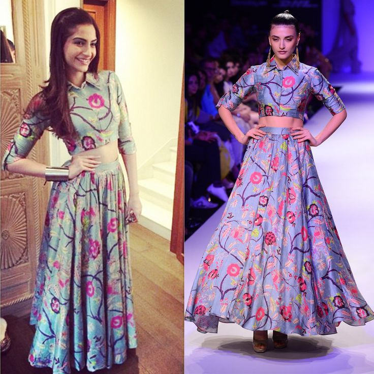 Sonam Kapoor in Payal Singhal Another floral print skirt-blouse - one of our favourite Payal Singhal outfits and we loved it on Sonam Kapoor. The 3/4 length shirt blouse and the high waisted skirt is so chic and perfect for an engagement or a pre-wedding function! Indian designer - Indian bridal - Indian couture #thecrimsonbride