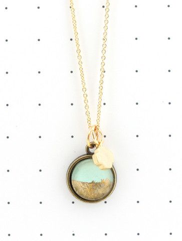 Petite Mint & Gold Foil Necklace