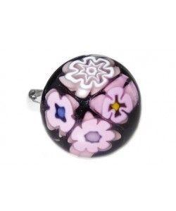 Kinderring handgemaakt van zwart glas met roze millefiori bloemetjes!
