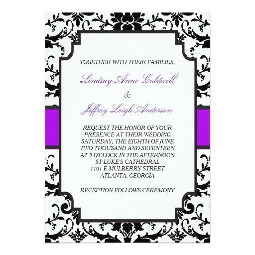 Black Damask Purple Accent Wedding Invitation