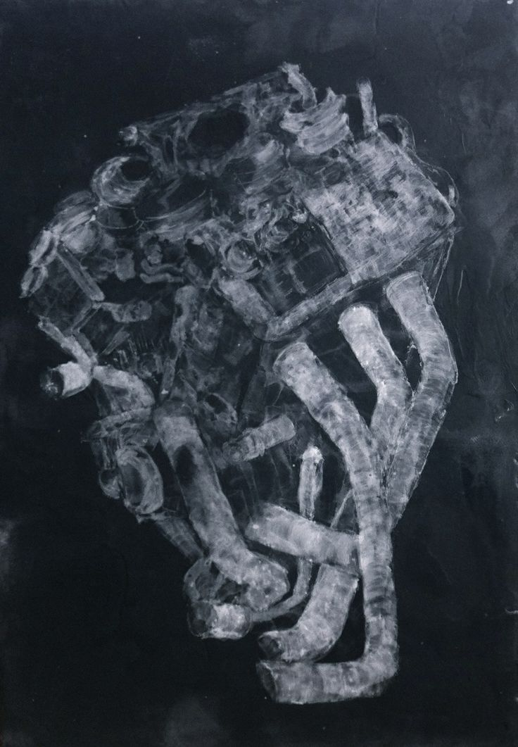 nos corps machines paraffine sur panneau bois fond noir par Isabelle Bonté-Hessed2
