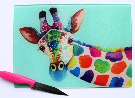 Unique Glass Chopping Board with a vibrant GIRAFFES by Vivaci