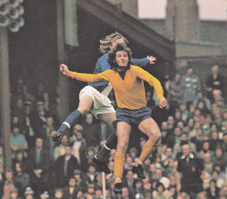 23rd September 1972. Everton centre half Roger Kenyon in a tangle with Birmingham City centre forward Kenny Burns.