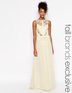 Jarlo Tall Delilah Grecian Lace Insert Maxi Dress Tall Ladies Claire
