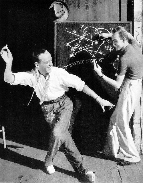 Fred Astaire working with his choreographic partner Hermes Pan, 1936