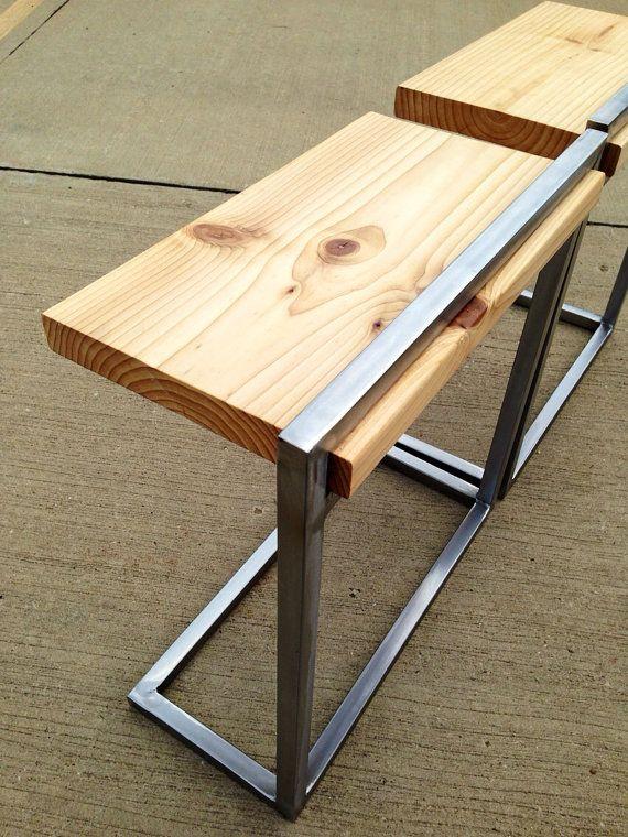 Custom Reclaimed Wood and Steel Side Tables