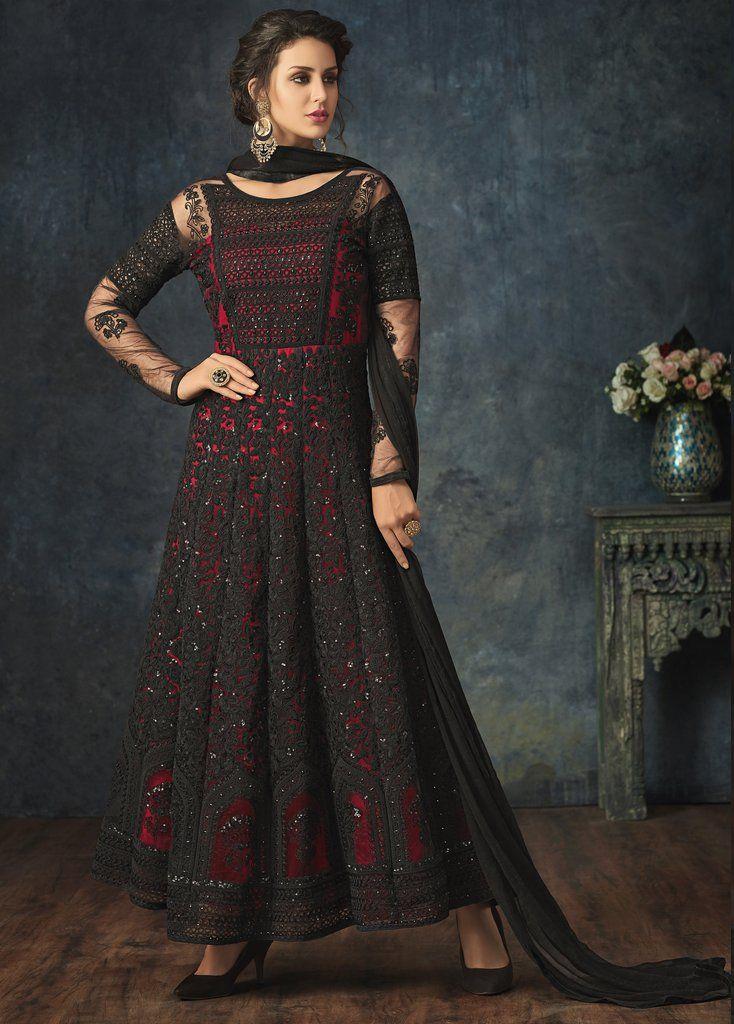 908d5f234a Black Red Net Embroidered Anarkali Suit (Semi-Stitched)  designer  anarkali   salwar  kameez  suit  festivalwear  weddingwear  partywear  traditional   indian ...
