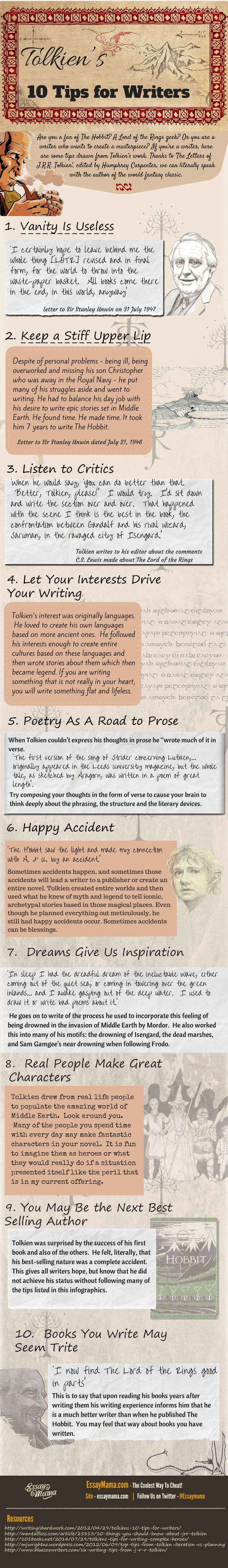 J.R.R. Tolkien's 10 Tips for Writers #writing #amwriting