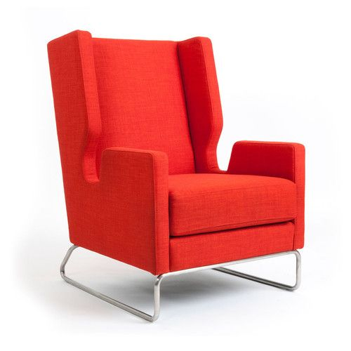Gus Modern   Danforth Chair   Laurentian Sunset   #redchairs #redlivingroom