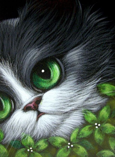 Art: TUXEDO KITTEN CAT - GREEN FLOWERS by Artist Cyra R. Cancel