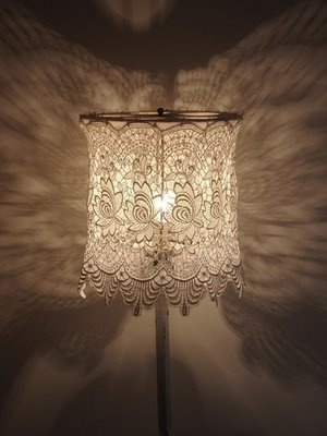 Doily lighting fixtures by Caitlin at Nice  Sweet lace AND patterned light....so nice.