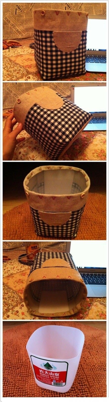 Milk jug fabric covered storage bins. #diy #MilkJugs