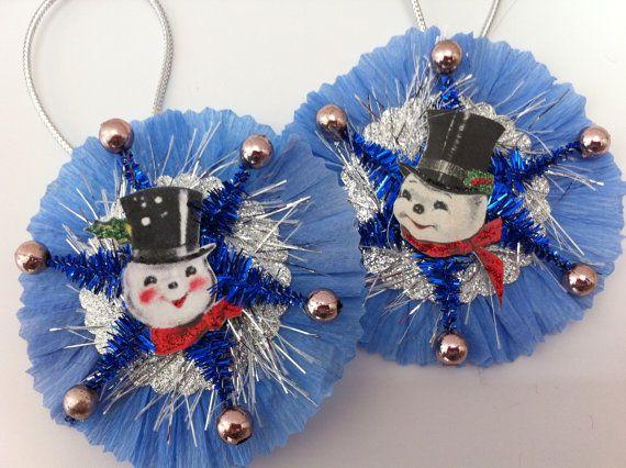 Pupazzo di neve blu + argento Natale vintagestyle ciniglia ornamenti Bilan 2 medaglioni