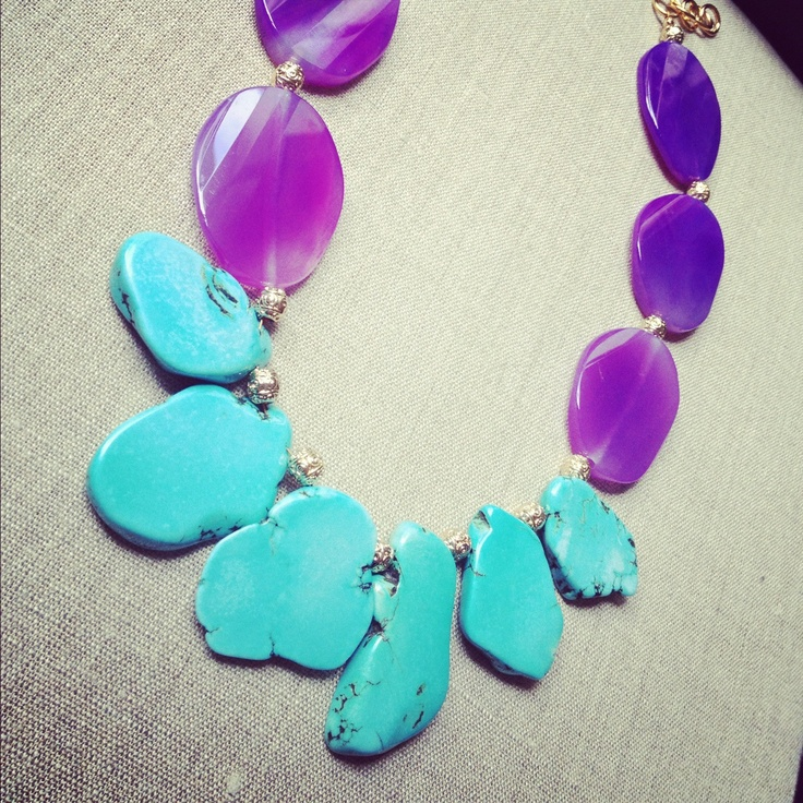 MAD Turquoise Slab Necklace/Purple Agate, via Etsy.Future Closets, Turquoise Slab, Necklace Purple Agates, Slab Necklace Purple, Necklaces 2014, Mad Turquoise, Beads Fun, Rebecca Loves 3, Fashion Spoiled