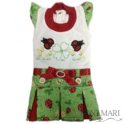 Tonimari dress, classic top & pleated skirt, embroidered - spring ladybugs (green/red)