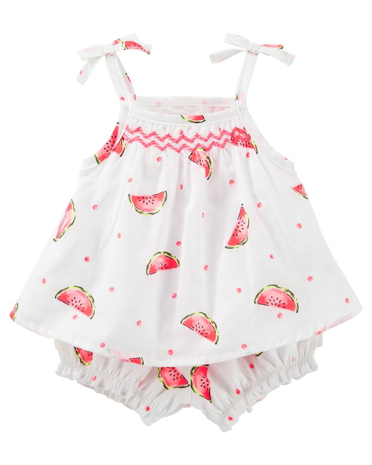With watermelons, an embroidered smocked neckline and tiny tacked bows, this 2-piece set is a sweet summer treat!<br>