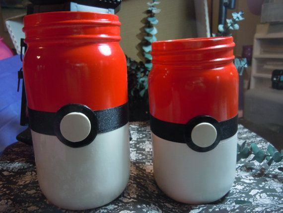 Pokemon Jars Mason Jar Decor Geek Decor Pokeball Jars by laminartz