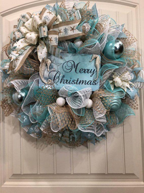 Christmas Beach Wreath Coastal Holiday Decor Seahorses With