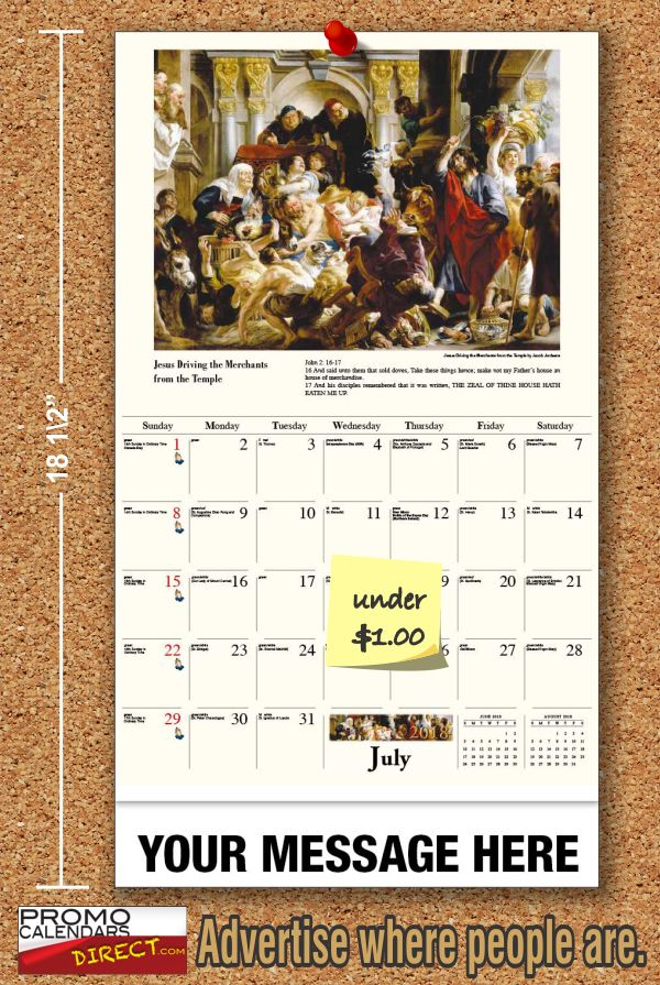 """How to Fund raise with Personalized Catholic Inspirations Calendars. At a unit cost as low as 65¢, and a perceived value of $5 or more the potential return on investment is substantial.  Imprint your Calendars with a """"Thank You for Supporting"""" your Church, School, Business or Event. Canvas a neighborhood, student/parents, church congregation, trade-show, etc. for support. Offer 1 for a $3 donation or 5 for a $10 donation...  see more at www.promocalendarsdirect.com"""