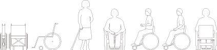 車椅子を使用する女性のCADデータ